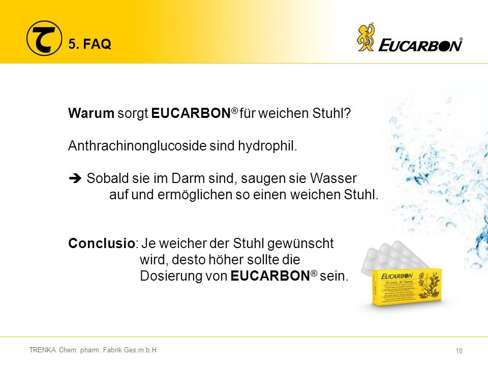 18 TRENKA Chem. pharm. Fabrik Ges.m.b.H 5. FAQ Warum sorgt EUCARBON ® für weichen Stuhl.