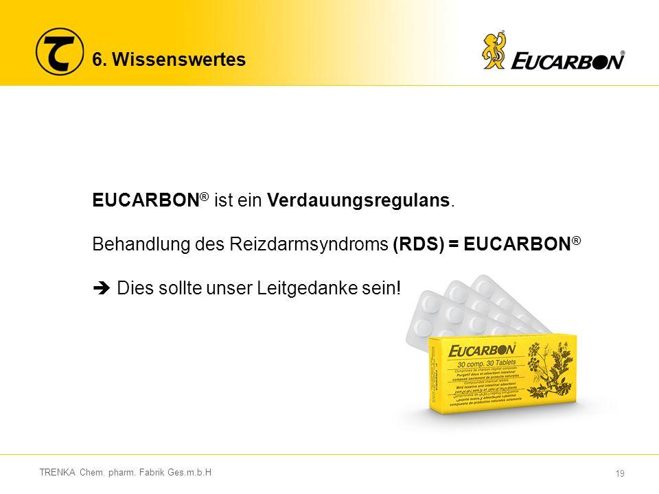19 TRENKA Chem.pharm. Fabrik Ges.m.b.H 6. Wissenswertes EUCARBON ® ist ein Verdauungsregulans.