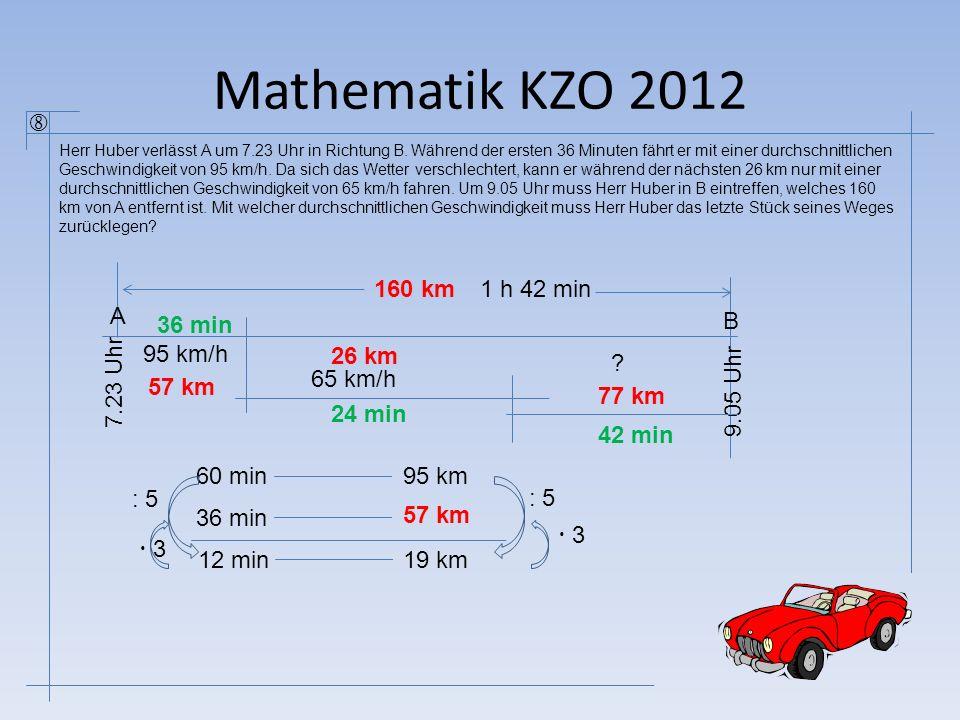 Mathematik KZO 2012  A B 7.23 Uhr 36 min 95 km/h 26 km 65 km/h 9.05 Uhr 160 km ? 60 min95 km 36 min 57 km 12 min19 km : 5  3 : 5 24 min 1 h 42 min 4
