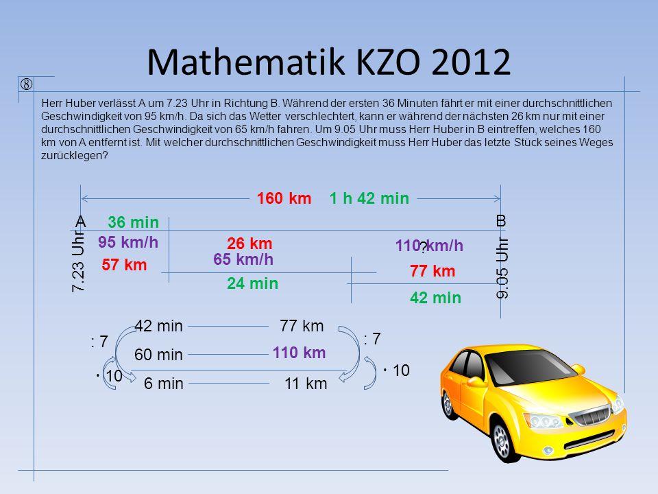 Mathematik KZO 2012  A B 7.23 Uhr 36 min 95 km/h 26 km 65 km/h 9.05 Uhr 160 km ? 42 min77 km 60 min 110 km/h 6 min11 km : 7  10 : 7 24 min 1 h 42 mi