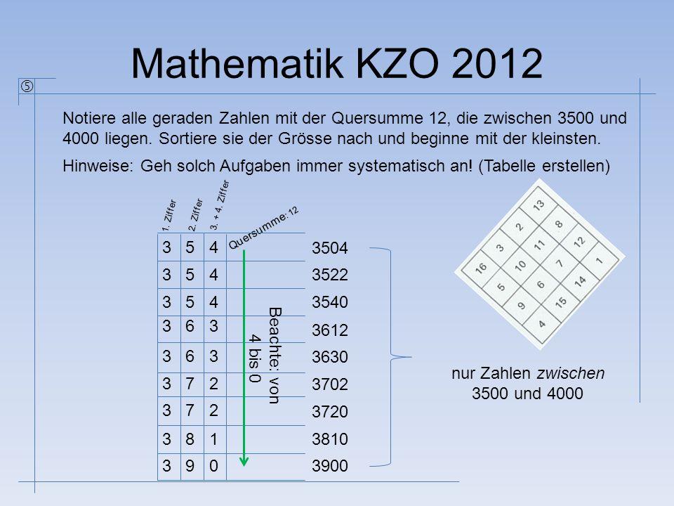 Mathematik KZO 2012 Notiere alle geraden Zahlen mit der Quersumme 12, die zwischen 3500 und 4000 liegen. Sortiere sie der Grösse nach und beginne mit
