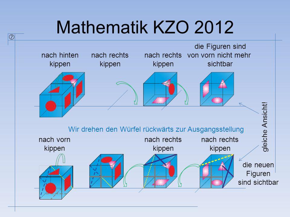 Mathematik KZO 2012  nach hinten kippen nach rechts kippen nach rechts kippen die Figuren sind von vorn nicht mehr sichtbar die neuen Figuren sind si