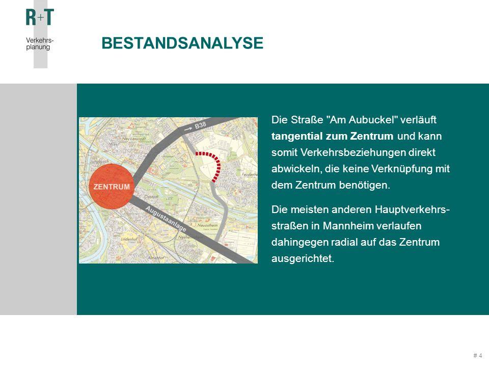 # 4 Die Straße Am Aubuckel verläuft tangential zum Zentrum und kann somit Verkehrsbeziehungen direkt abwickeln, die keine Verknüpfung mit dem Zentrum benötigen.