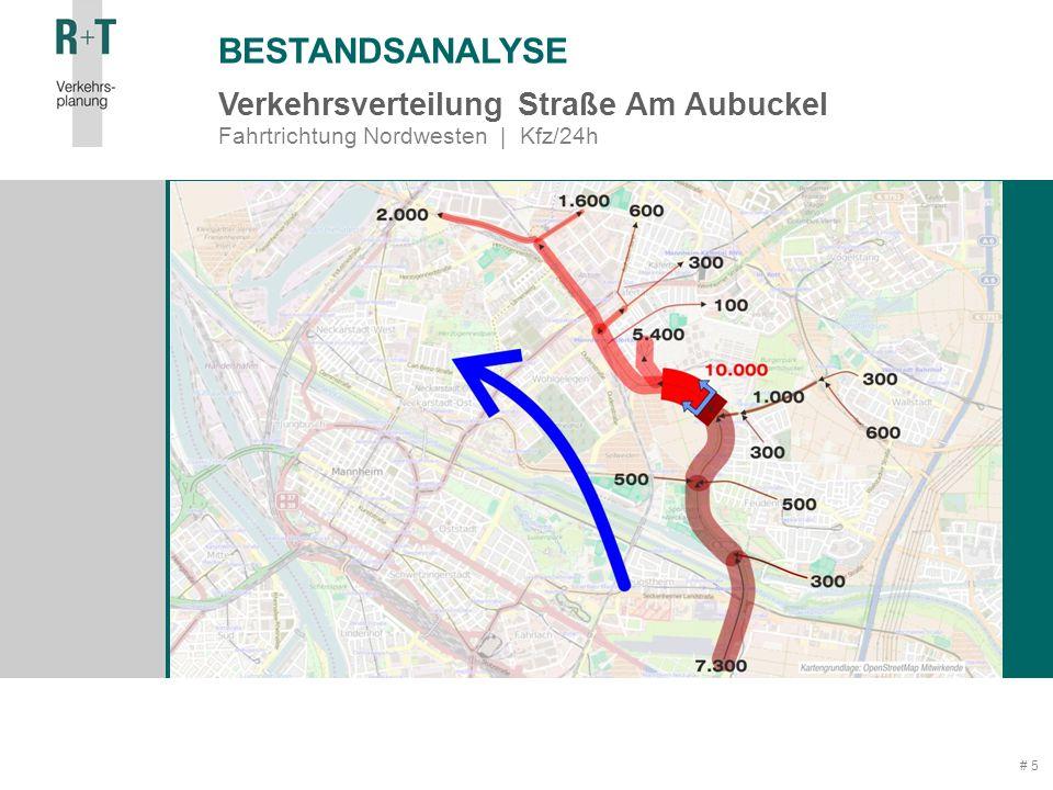 # 5 Verkehrsverteilung Straße Am Aubuckel Fahrtrichtung Nordwesten | Kfz/24h BESTANDSANALYSE