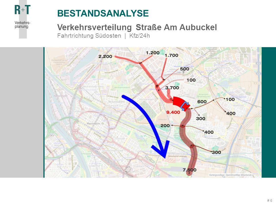 # 6 BESTANDSANALYSE Verkehrsverteilung Straße Am Aubuckel Fahrtrichtung Südosten | Kfz/24h