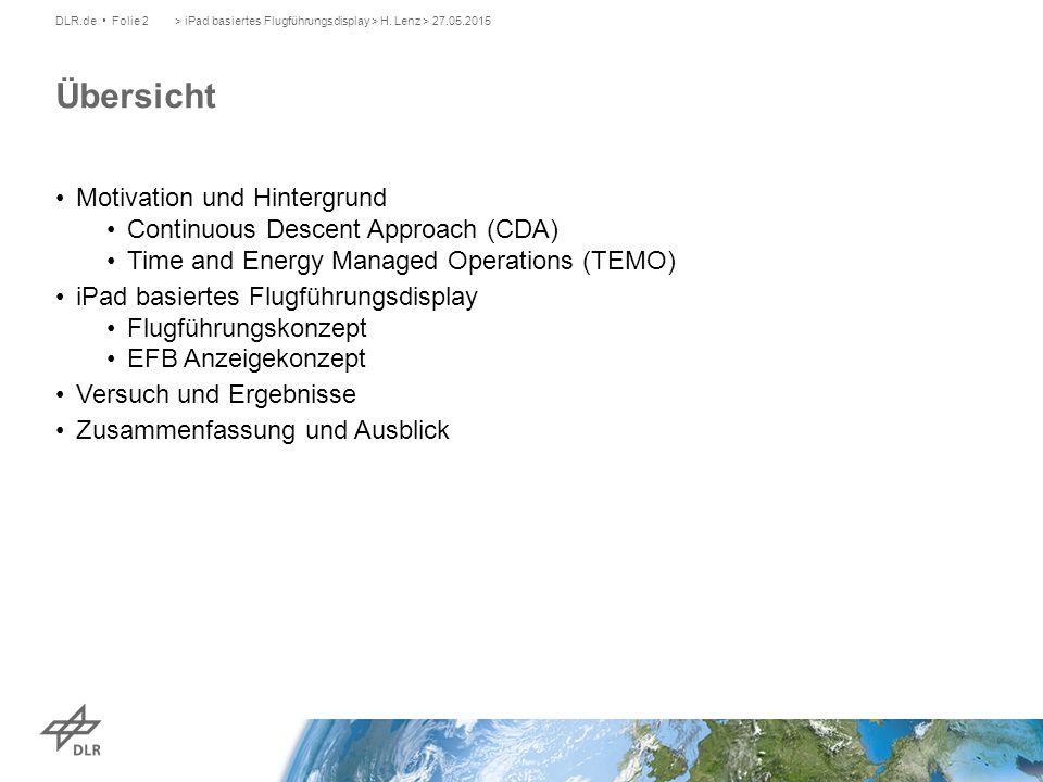 Motivation und Hintergrund Continuous Descent Approach (CDA) Time and Energy Managed Operations (TEMO) iPad basiertes Flugführungsdisplay Flugführungskonzept EFB Anzeigekonzept Versuch und Ergebnisse Zusammenfassung und Ausblick > iPad basiertes Flugführungsdisplay > H.