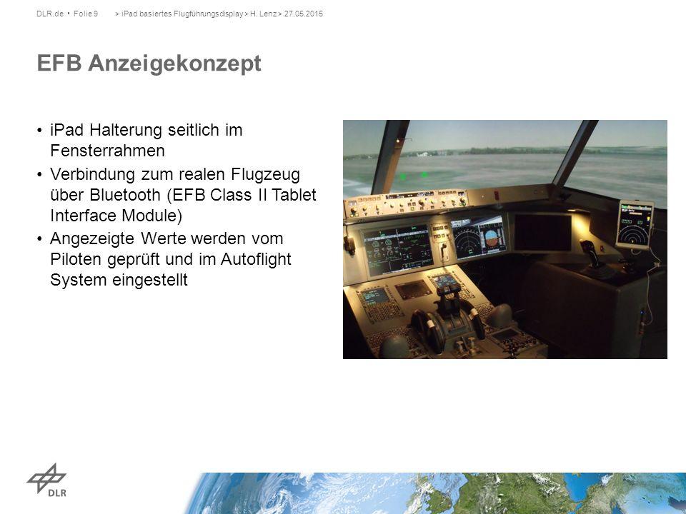 iPad Halterung seitlich im Fensterrahmen Verbindung zum realen Flugzeug über Bluetooth (EFB Class II Tablet Interface Module) Angezeigte Werte werden vom Piloten geprüft und im Autoflight System eingestellt > iPad basiertes Flugführungsdisplay > H.