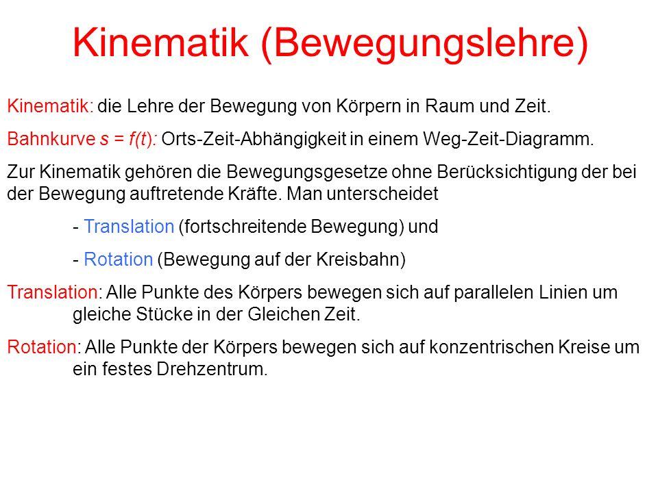 Kinematik (Bewegungslehre) Kinematik: die Lehre der Bewegung von Körpern in Raum und Zeit.