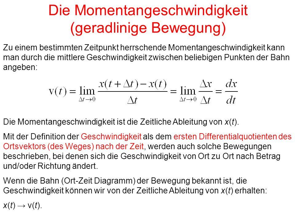 Die Momentangeschwindigkeit (geradlinige Bewegung) Zu einem bestimmten Zeitpunkt herrschende Momentangeschwindigkeit kann man durch die mittlere Geschwindigkeit zwischen beliebigen Punkten der Bahn angeben: Die Momentangeschwindigkeit ist die Zeitliche Ableitung von x(t).