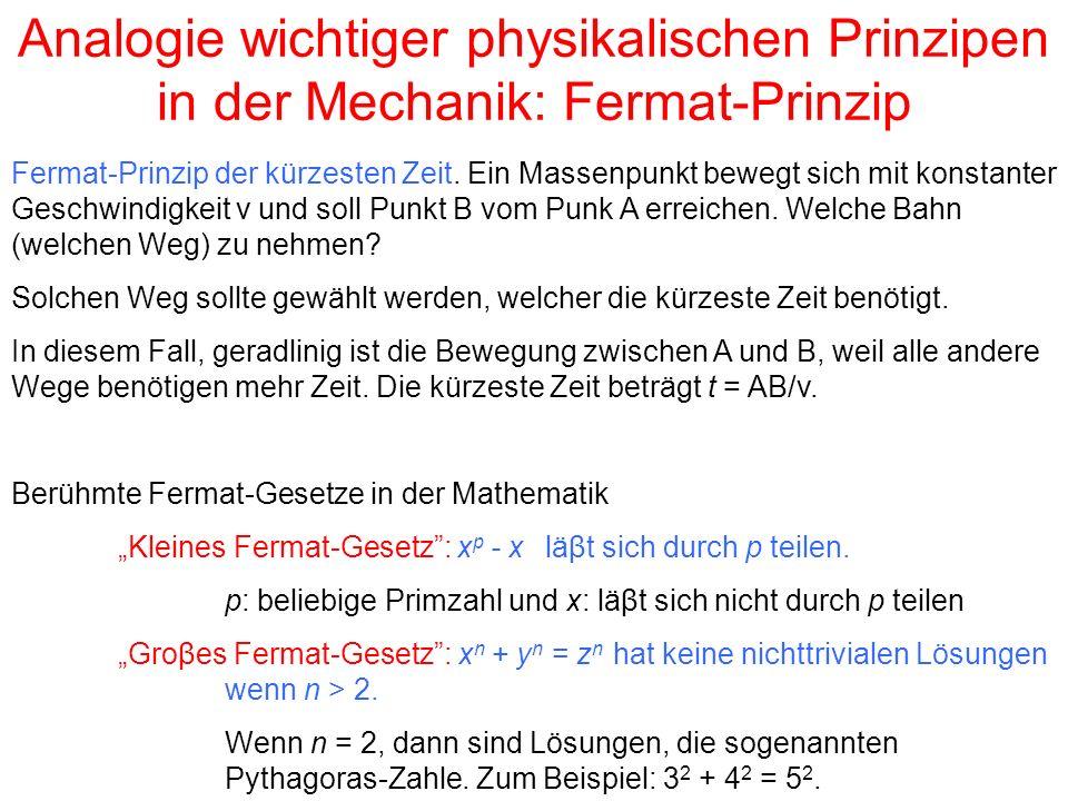 Analogie wichtiger physikalischen Prinzipen in der Mechanik: Fermat-Prinzip Fermat-Prinzip der kürzesten Zeit.