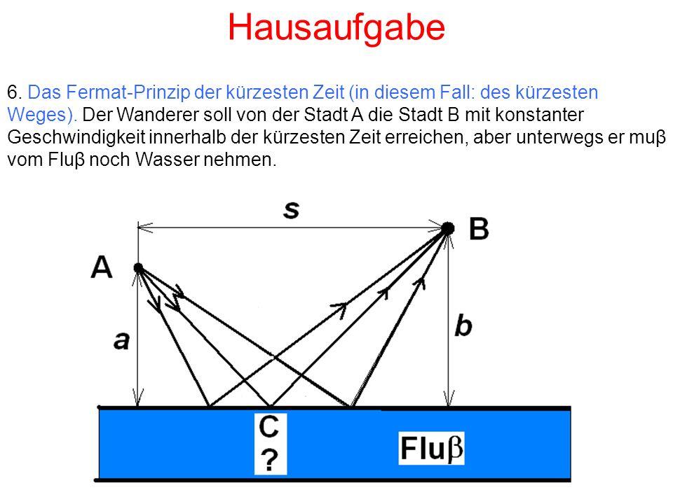 Hausaufgabe 6. Das Fermat-Prinzip der kürzesten Zeit (in diesem Fall: des kürzesten Weges).