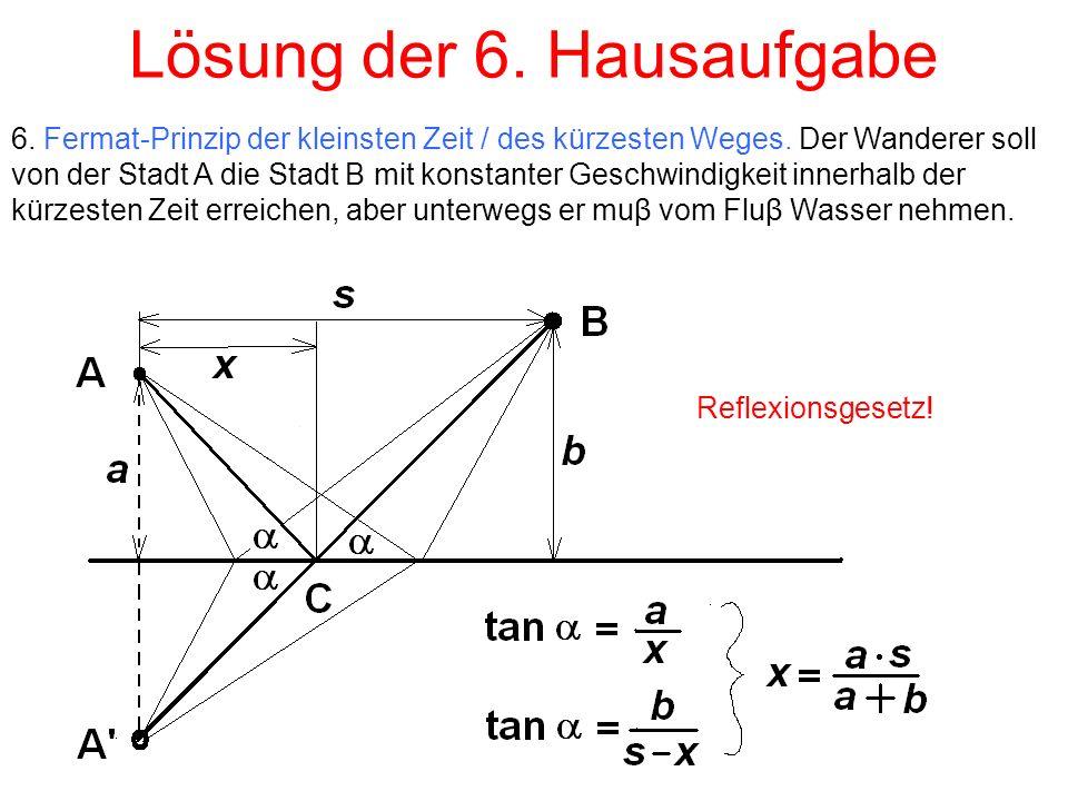 Lösung der 6. Hausaufgabe 6. Fermat-Prinzip der kleinsten Zeit / des kürzesten Weges.