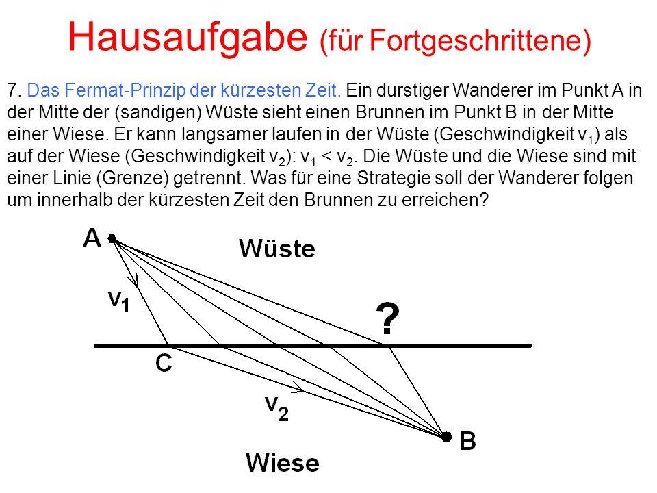Hausaufgabe (für Fortgeschrittene) 7. Das Fermat-Prinzip der kürzesten Zeit.