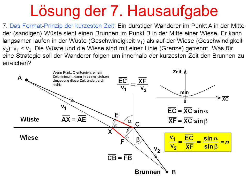 Lösung der 7. Hausaufgabe 7. Das Fermat-Prinzip der kürzesten Zeit.