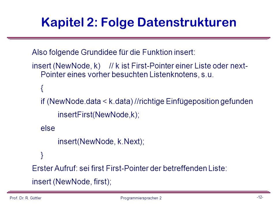 -11- Prof. Dr. R. Güttler Programmiersprachen 2 Kapitel 2: Folge Datenstrukturen 2. Einfügen in eine sortierte Liste: Offensichtlich ist die Methode i