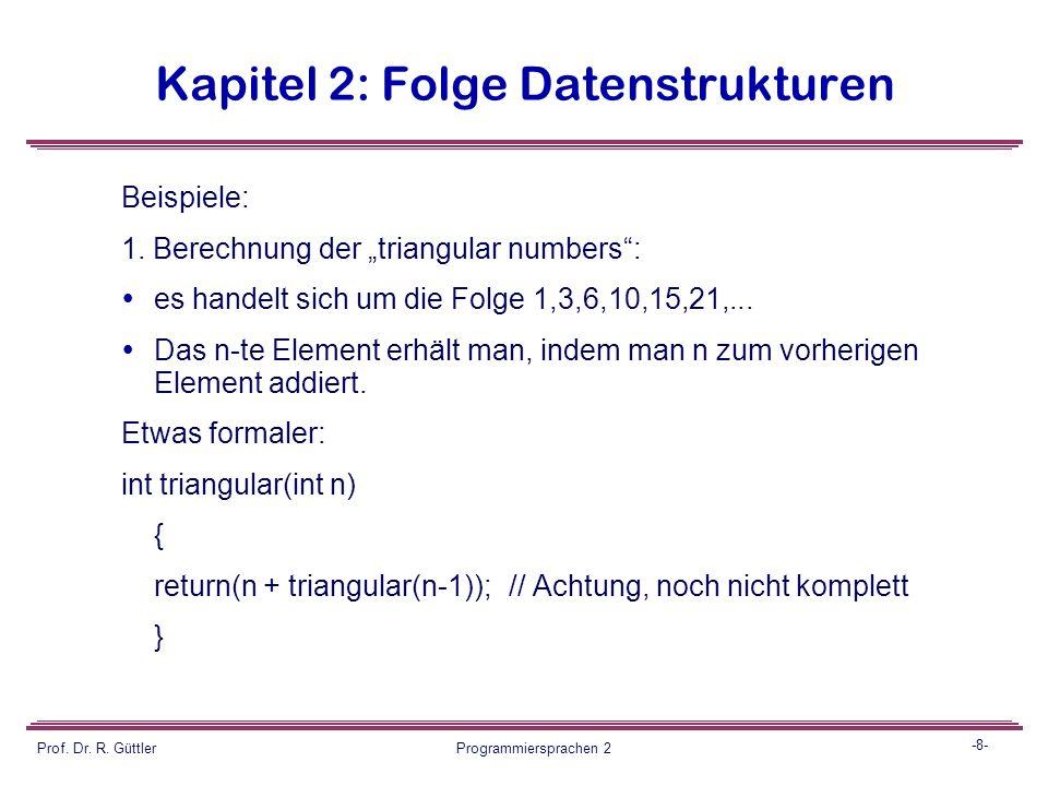 -7- Prof. Dr. R. Güttler Programmiersprachen 2 Kapitel 2: Folge Datenstrukturen Grundidee der Rekursion: die Teilprobleme selbst werden wieder nach de