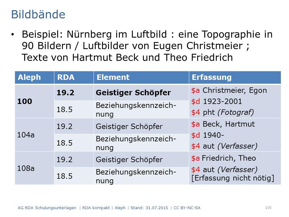 Bildbände Beispiel: Nürnberg im Luftbild : eine Topographie in 90 Bildern / Luftbilder von Eugen Christmeier ; Texte von Hartmut Beck und Theo Friedrich 105 AlephRDAElementErfassung 100 19.2Geistiger Schöpfer $a Christmeier, Egon $d 1923-2001 $4 pht (Fotograf) 18.5 Beziehungskennzeich nung 104a 19.2Geistiger Schöpfer $a Beck, Hartmut $d 1940- $4 aut (Verfasser) 18.5 Beziehungskennzeich nung 108a 19.2Geistiger Schöpfer $a Friedrich, Theo $4 aut (Verfasser) [Erfassung nicht nötig] 18.5 Beziehungskennzeich nung AG RDA Schulungsunterlagen | RDA kompakt | Aleph | Stand: 31.07.2015 | CC BY-NC-SA