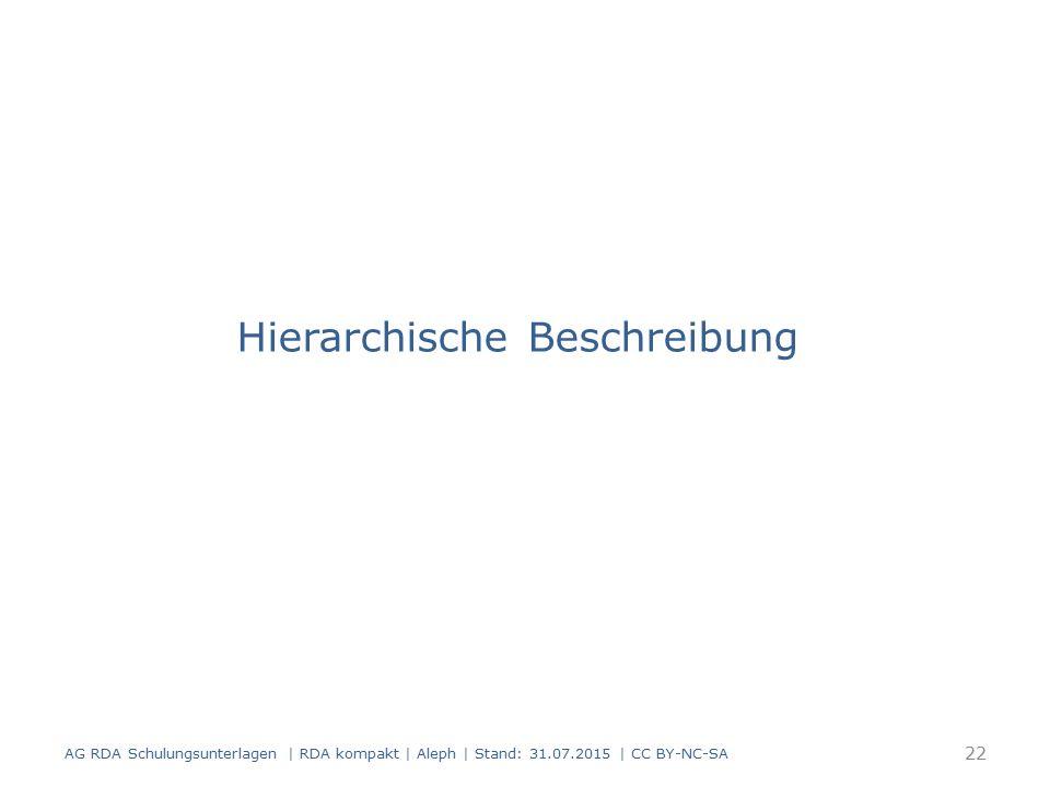 Hierarchische Beschreibung 22 AG RDA Schulungsunterlagen | RDA kompakt | Aleph | Stand: 31.07.2015 | CC BY-NC-SA