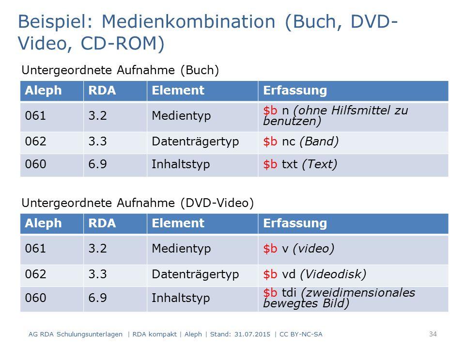 AG RDA Schulungsunterlagen | RDA kompakt | Aleph | Stand: 31.07.2015 | CC BY-NC-SA 34 AlephRDAElementErfassung 0613.2Medientyp $b n (ohne Hilfsmittel zu benutzen) 0623.3Datenträgertyp$b nc (Band) 0606.9Inhaltstyp$b txt (Text) Beispiel: Medienkombination (Buch, DVD- Video, CD-ROM) Untergeordnete Aufnahme (Buch) AlephRDAElementErfassung 0613.2Medientyp$b v (video) 0623.3Datenträgertyp$b vd (Videodisk) 0606.9Inhaltstyp $b tdi (zweidimensionales bewegtes Bild) Untergeordnete Aufnahme (DVD-Video)