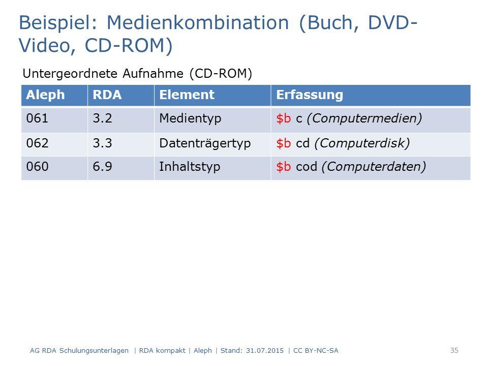 AG RDA Schulungsunterlagen | RDA kompakt | Aleph | Stand: 31.07.2015 | CC BY-NC-SA 35 AlephRDAElementErfassung 0613.2Medientyp$b c (Computermedien) 0623.3Datenträgertyp$b cd (Computerdisk) 0606.9Inhaltstyp$b cod (Computerdaten) Beispiel: Medienkombination (Buch, DVD- Video, CD-ROM) Untergeordnete Aufnahme (CD-ROM)