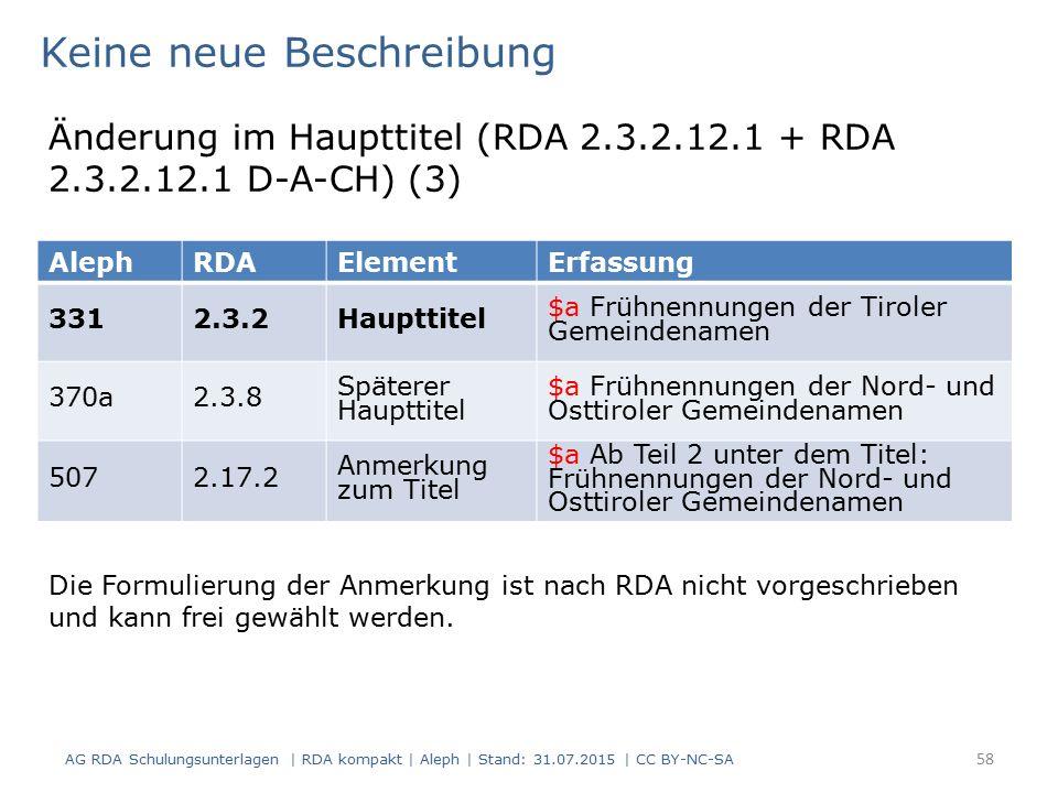 AG RDA Schulungsunterlagen | RDA kompakt | Aleph | Stand: 31.07.2015 | CC BY-NC-SA 58 AlephRDAElementErfassung 3312.3.2Haupttitel $a Frühnennungen der Tiroler Gemeindenamen 370a2.3.8 Späterer Haupttitel $a Frühnennungen der Nord- und Osttiroler Gemeindenamen 5072.17.2 Anmerkung zum Titel $a Ab Teil 2 unter dem Titel: Frühnennungen der Nord- und Osttiroler Gemeindenamen Keine neue Beschreibung Die Formulierung der Anmerkung ist nach RDA nicht vorgeschrieben und kann frei gewählt werden.