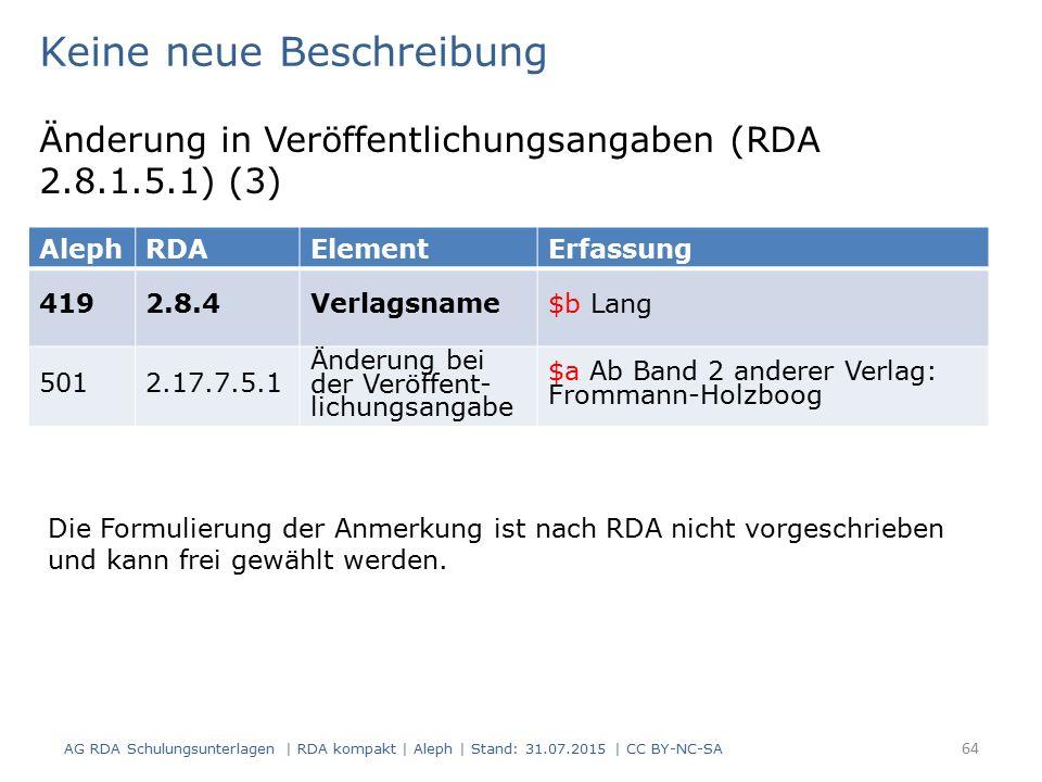 AG RDA Schulungsunterlagen | RDA kompakt | Aleph | Stand: 31.07.2015 | CC BY-NC-SA 64 AlephRDAElementErfassung 4192.8.4Verlagsname$b Lang 5012.17.7.5.1 Änderung bei der Veröffent- lichungsangabe $a Ab Band 2 anderer Verlag: Frommann-Holzboog Keine neue Beschreibung Änderung in Veröffentlichungsangaben (RDA 2.8.1.5.1) (3) Die Formulierung der Anmerkung ist nach RDA nicht vorgeschrieben und kann frei gewählt werden.