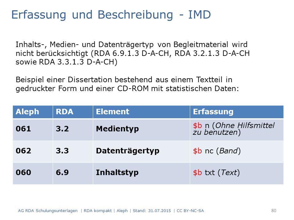 AlephRDAElementErfassung 0613.2Medientyp $b n (Ohne Hilfsmittel zu benutzen) 0623.3Datenträgertyp$b nc (Band) 0606.9Inhaltstyp$b txt (Text) Erfassung und Beschreibung - IMD Inhalts-, Medien- und Datenträgertyp von Begleitmaterial wird nicht berücksichtigt (RDA 6.9.1.3 D-A-CH, RDA 3.2.1.3 D-A-CH sowie RDA 3.3.1.3 D-A-CH) Beispiel einer Dissertation bestehend aus einem Textteil in gedruckter Form und einer CD-ROM mit statistischen Daten: 80