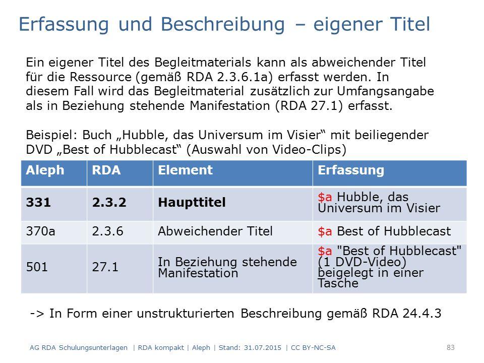 AG RDA Schulungsunterlagen | RDA kompakt | Aleph | Stand: 31.07.2015 | CC BY-NC-SA AlephRDAElementErfassung 3312.3.2Haupttitel $a Hubble, das Universum im Visier 370a2.3.6Abweichender Titel$a Best of Hubblecast 50127.1 In Beziehung stehende Manifestation $a Best of Hubblecast (1 DVD-Video) beigelegt in einer Tasche Erfassung und Beschreibung – eigener Titel Ein eigener Titel des Begleitmaterials kann als abweichender Titel für die Ressource (gemäß RDA 2.3.6.1a) erfasst werden.