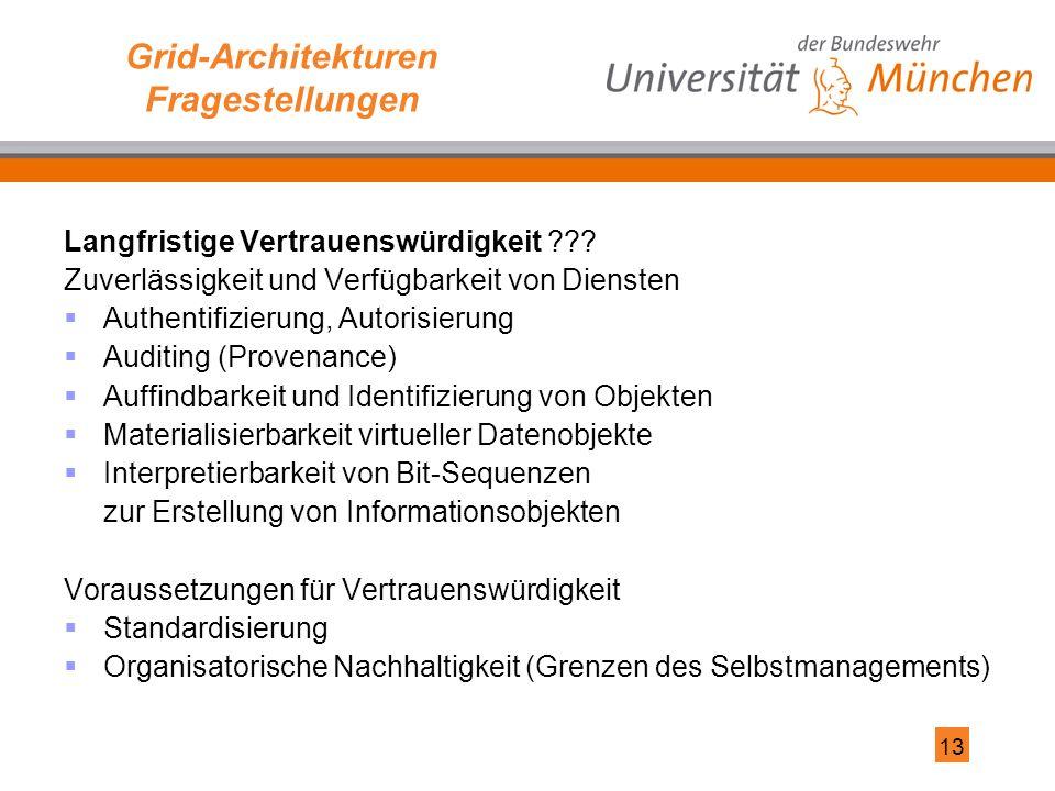13 Grid-Architekturen Fragestellungen Langfristige Vertrauenswürdigkeit ??.