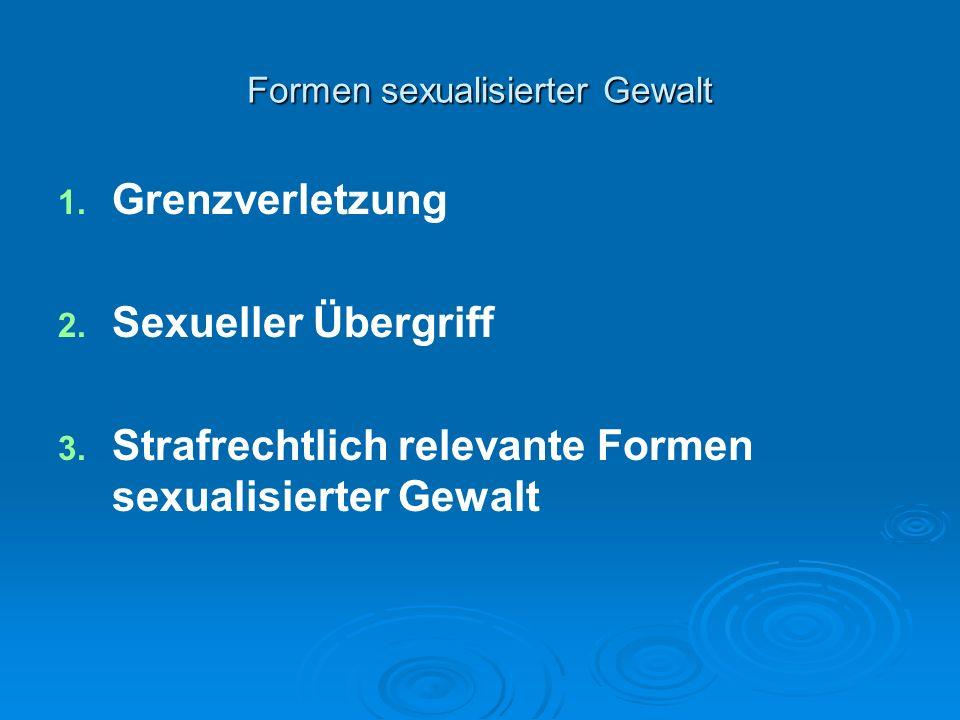 Formen sexualisierter Gewalt 1. 1. Grenzverletzung 2. 2. Sexueller Übergriff 3. 3. Strafrechtlich relevante Formen sexualisierter Gewalt