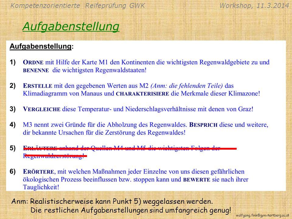 Kompetenzorientierte Reifeprüfung GWKWorkshop, 11.3.2014 wolfgang.fink@gym-hartberg.ac.at Aufgabenstellung Anm: Realistischerweise kann Punkt 5) weggelassen werden.