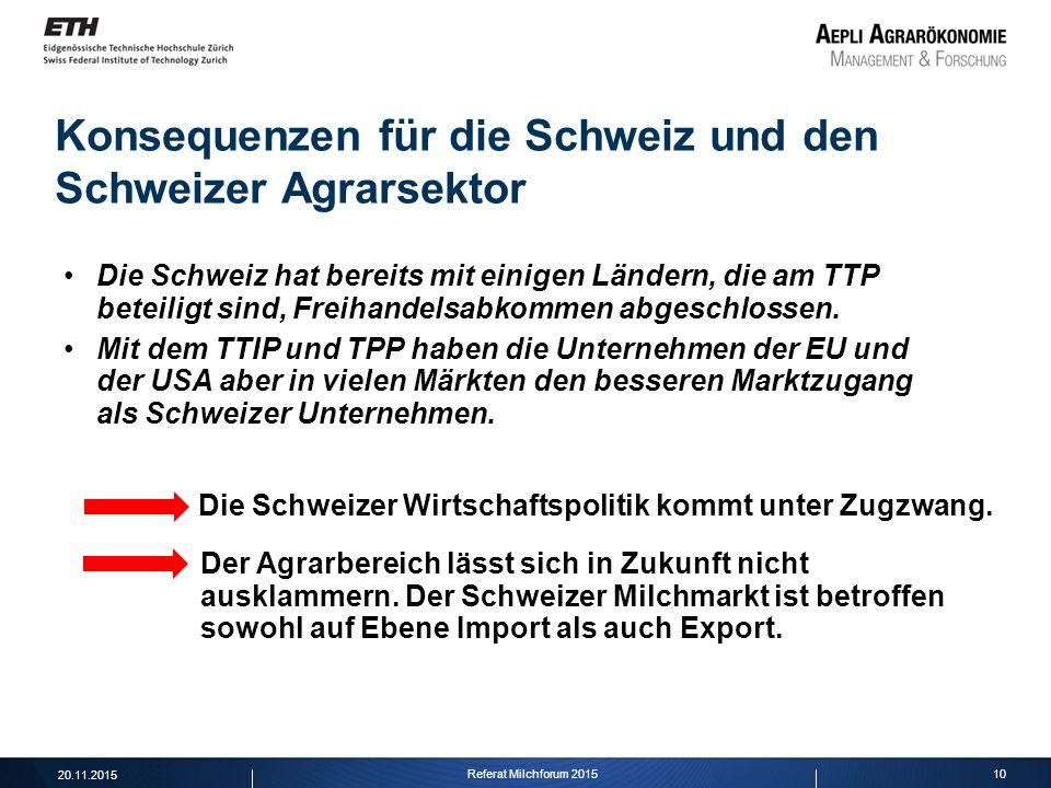 10 Konsequenzen für die Schweiz und den Schweizer Agrarsektor Die Schweiz hat bereits mit einigen Ländern, die am TTP beteiligt sind, Freihandelsabkom