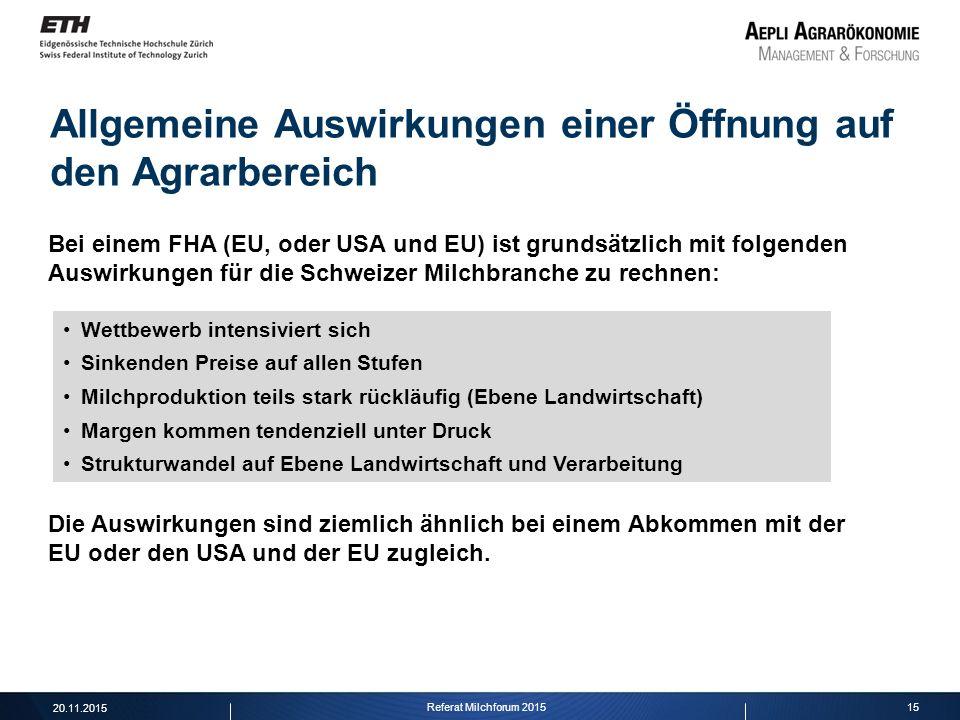 15 Allgemeine Auswirkungen einer Öffnung auf den Agrarbereich Bei einem FHA (EU, oder USA und EU) ist grundsätzlich mit folgenden Auswirkungen für die
