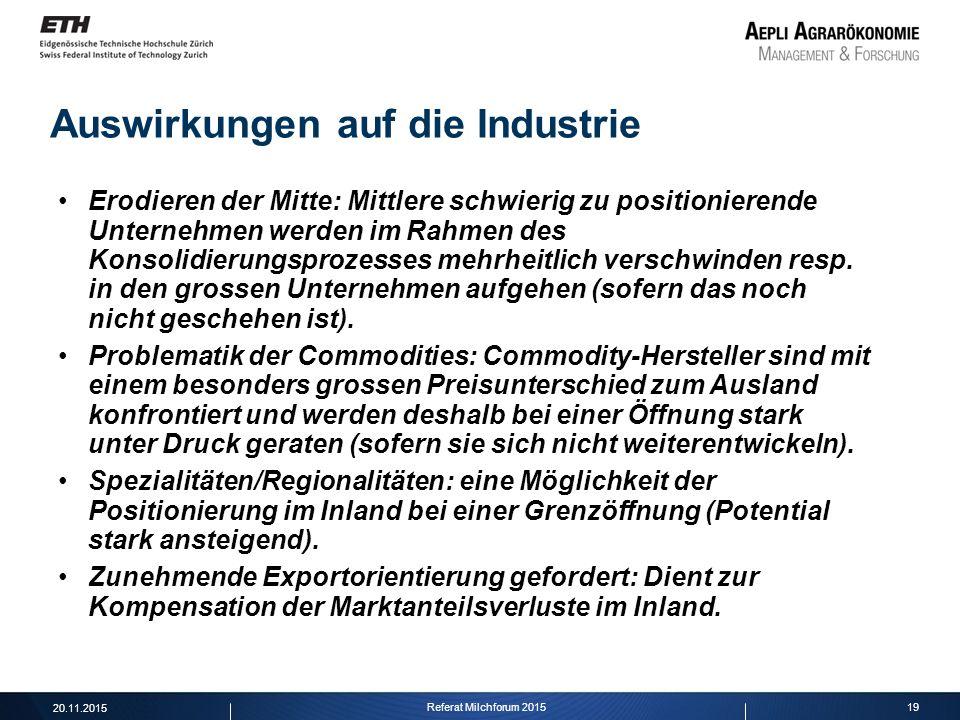 19 Auswirkungen auf die Industrie Erodieren der Mitte: Mittlere schwierig zu positionierende Unternehmen werden im Rahmen des Konsolidierungsprozesses