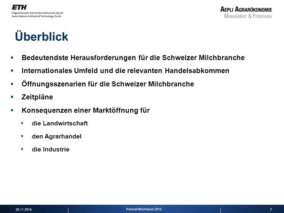 2 Überblick Referat Milchforum 2015 20.11.2015  Bedeutendste Herausforderungen für die Schweizer Milchbranche  Internationales Umfeld und die releva