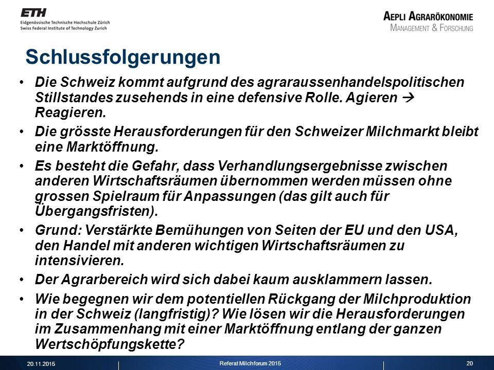 Die Schweiz kommt aufgrund des agraraussenhandelspolitischen Stillstandes zusehends in eine defensive Rolle. Agieren  Reagieren. Die grösste Herausfo