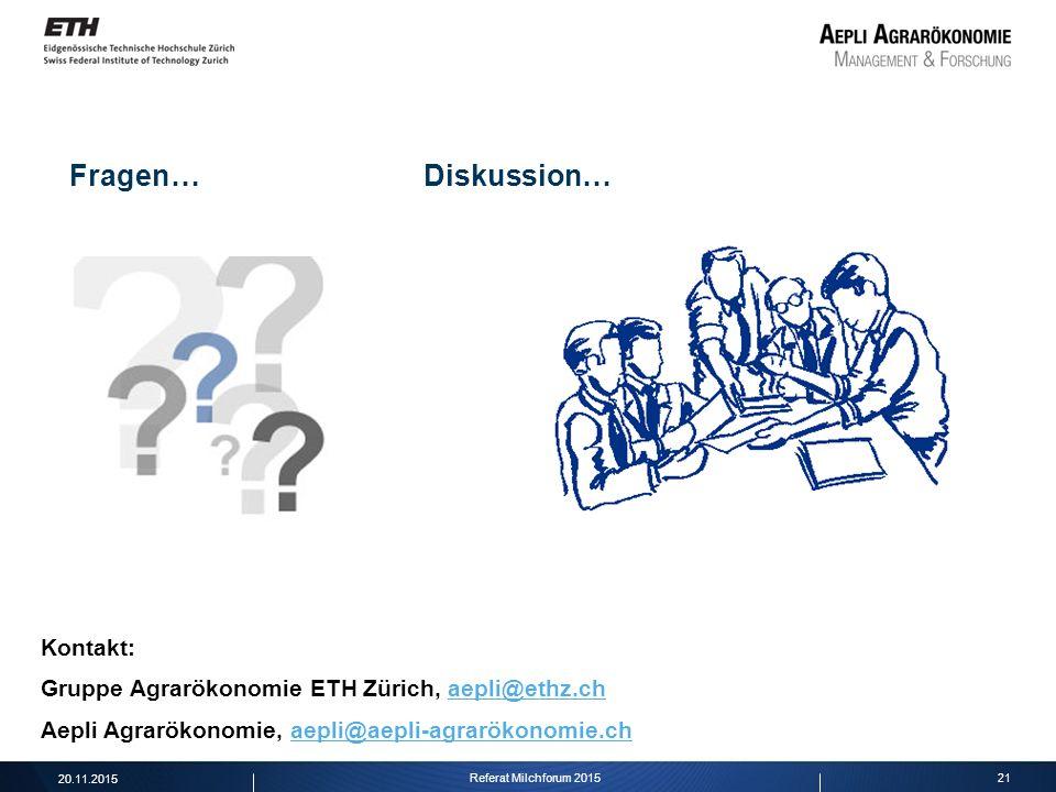 21 Fragen… Diskussion… 20.11.2015 Referat Milchforum 2015 Kontakt: Gruppe Agrarökonomie ETH Zürich, aepli@ethz.chaepli@ethz.ch Aepli Agrarökonomie, ae