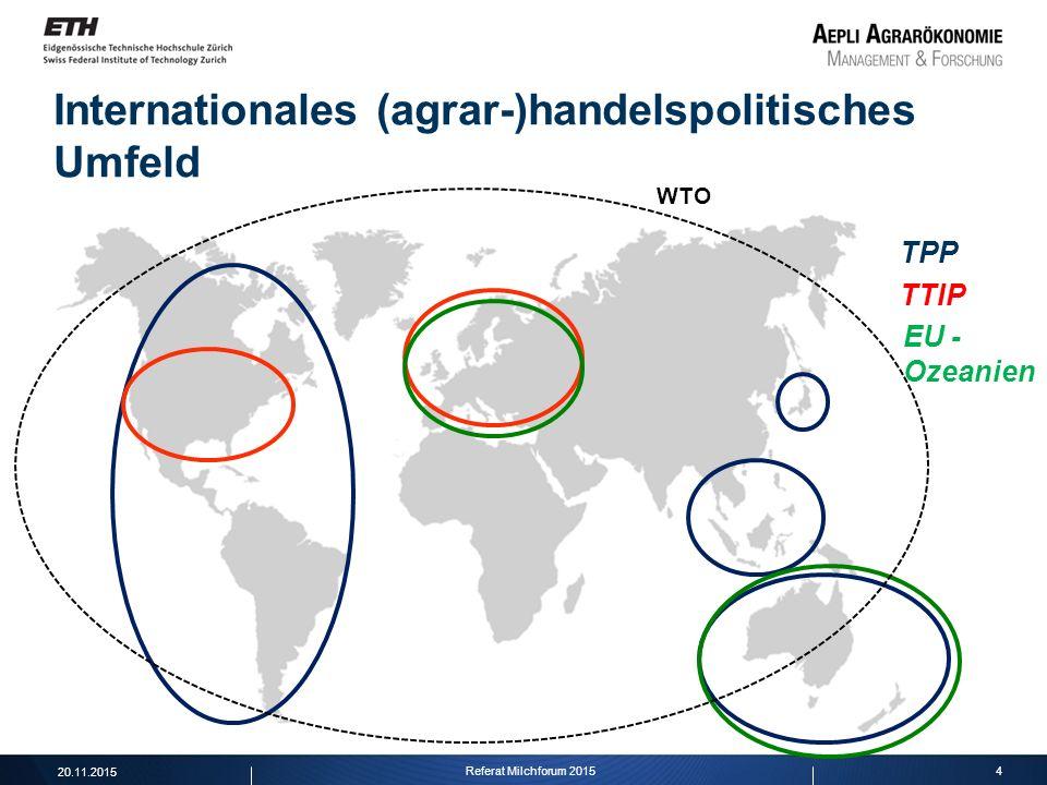 4 Internationales (agrar-)handelspolitisches Umfeld TPP TTIP EU - Ozeanien WTO 20.11.2015 Referat Milchforum 2015