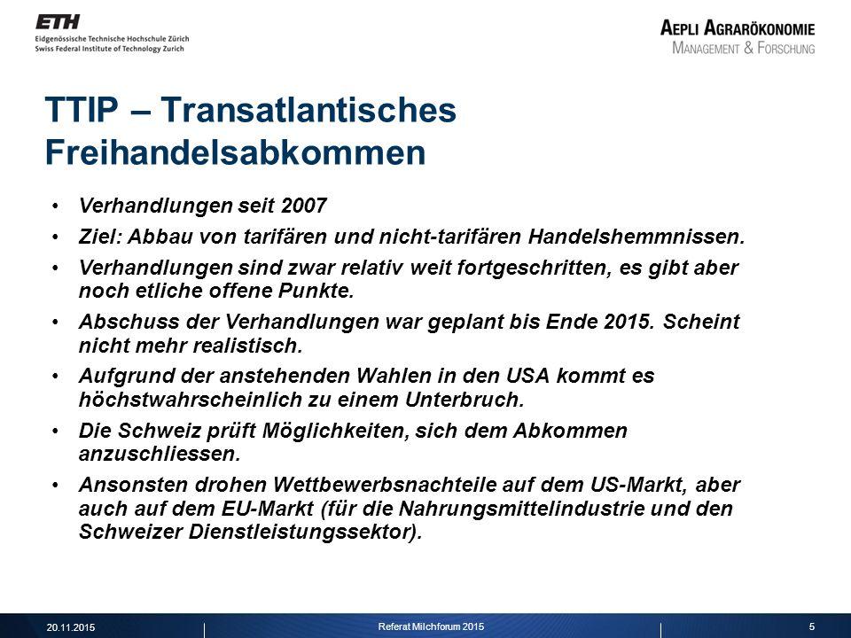 5 TTIP – Transatlantisches Freihandelsabkommen Verhandlungen seit 2007 Ziel: Abbau von tarifären und nicht-tarifären Handelshemmnissen. Verhandlungen