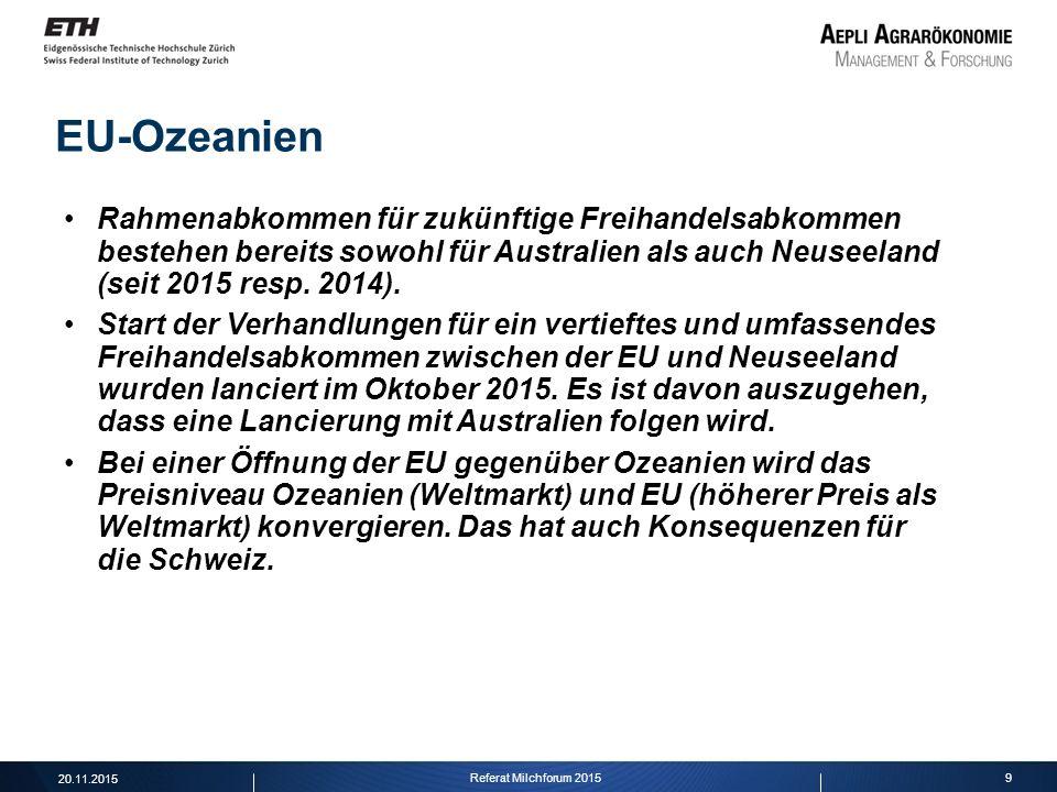 9 EU-Ozeanien Rahmenabkommen für zukünftige Freihandelsabkommen bestehen bereits sowohl für Australien als auch Neuseeland (seit 2015 resp. 2014). Sta