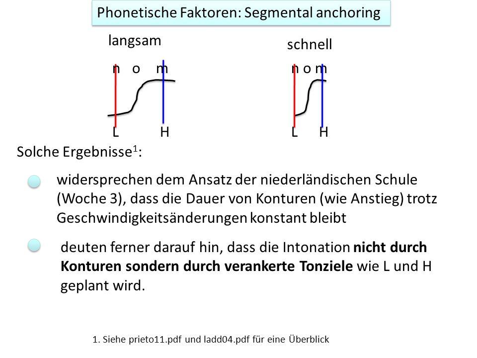 Phonetische Faktoren: Segmental anchoring ist die Theorie, dass L und H stabil mit Segmenten synchronisiert werden (stabil in Segmenten verankert sind) 1.