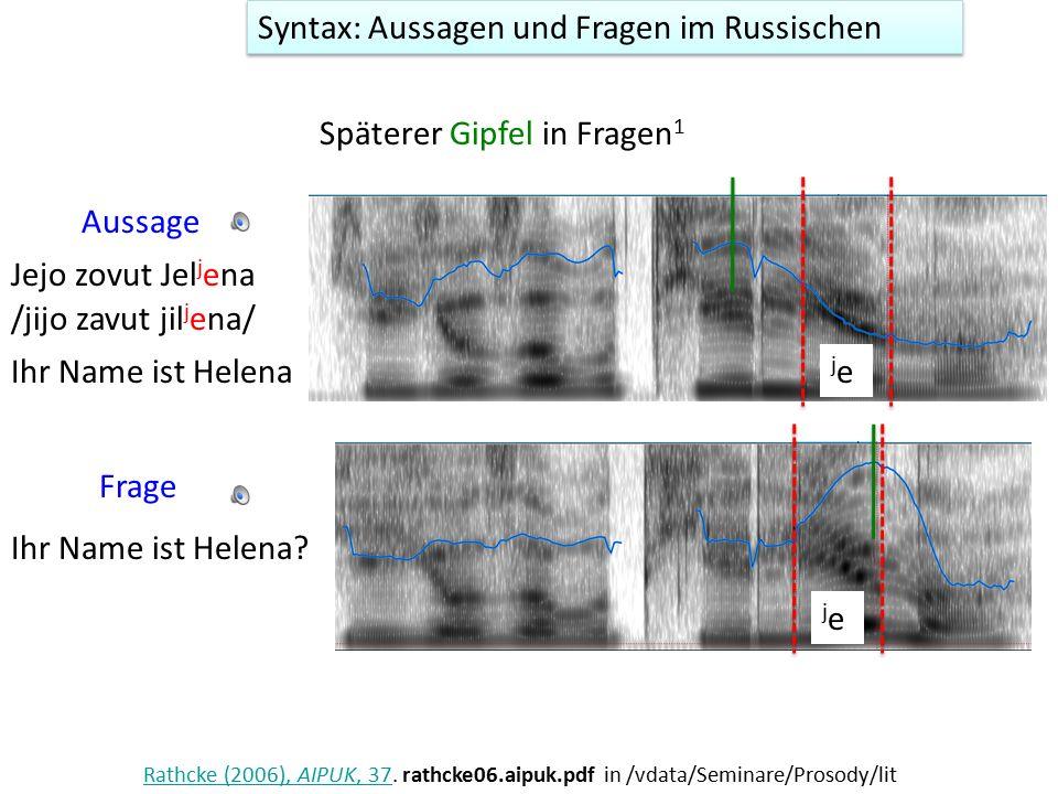 Syntax: Aussagen und Fragen in süditalienischen Varietäten AussageFrage D Imperio, M.