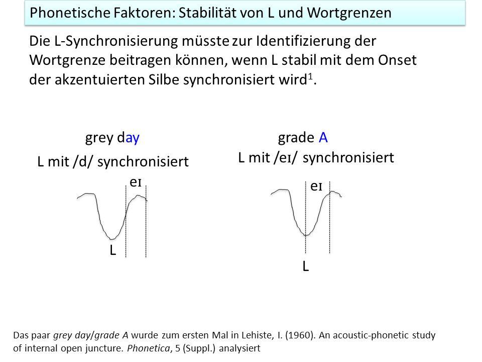 Phonetische Faktoren: Stabilität von L und Wortgrenzen Die L-Synchronisierung müsste zur Identifizierung der Wortgrenze beitragen können, wenn L stabil mit dem Onset der akzentuierten Silbe synchronisiert wird 1.
