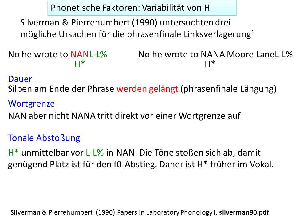 Silverman & Pierrehumbert (1990) untersuchten drei mögliche Ursachen für die phrasenfinale Linksverlagerung 1 Tonale Abstoßung No he wrote to NANA Moore LaneL-L% H* unmittelbar vor L-L% in NAN.