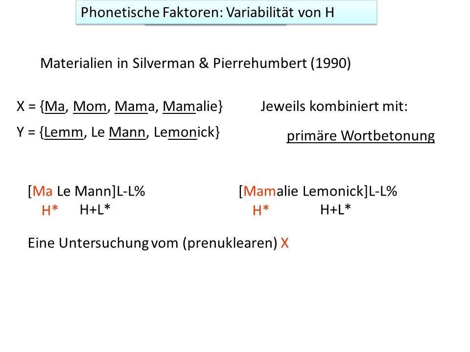 Variabiltät von H Materialien in Silverman & Pierrehumbert (1990) [Ma Le Mann]L-L% H* H+L* Eine Untersuchung vom (prenuklearen) X [Mamalie Lemonick]L-L% H* H+L* X = {Ma, Mom, Mama, Mamalie} Y = {Lemm, Le Mann, Lemonick} Jeweils kombiniert mit: primäre Wortbetonung Phonetische Faktoren: Variabilität von H