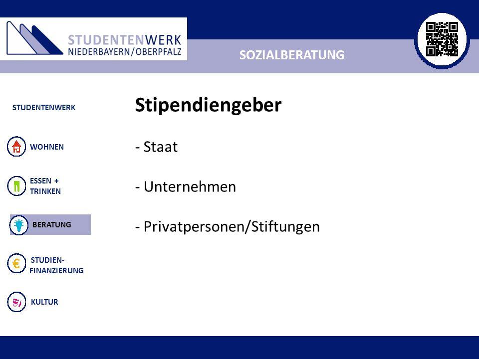 ALLGEMEIN ESSEN + TRINKEN STUDIEN- FINANZIERUNG KULTUR WOHNEN SOZIALBERATUNG STUDENTENWERK BERATUNG Stipendiengeber - Staat - Unternehmen - Privatpersonen/Stiftungen