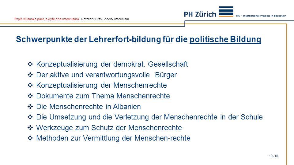 Rrjeti Kultura e parë, e dytë dhe interkultura Netzëerk Erst-, Zëeit-, Interkultur Schwerpunkte der Lehrerfort-bildung für die politische Bildung 10 /16  Konzeptualisierung der demokrat.