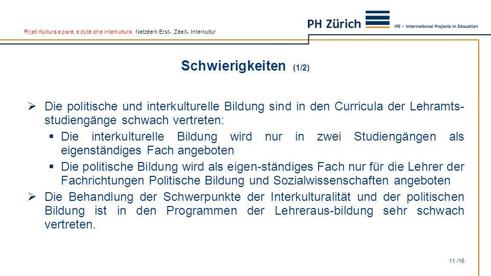Rrjeti Kultura e parë, e dytë dhe interkultura Netzëerk Erst-, Zëeit-, Interkultur Schwierigkeiten (1/2) 11 /16  Die politische und interkulturelle B