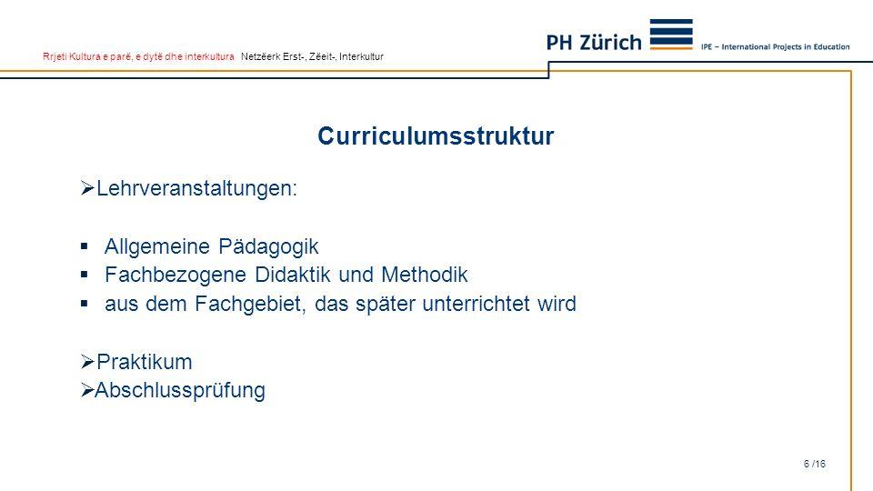Rrjeti Kultura e parë, e dytë dhe interkultura Netzëerk Erst-, Zëeit-, Interkultur Curriculumsstruktur 6 /16  Lehrveranstaltungen:  Allgemeine Pädag