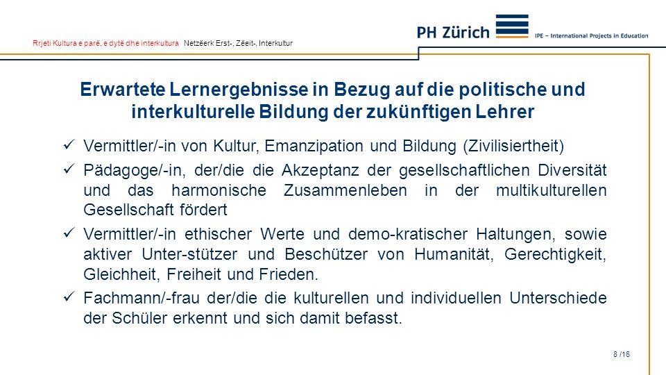 Rrjeti Kultura e parë, e dytë dhe interkultura Netzëerk Erst-, Zëeit-, Interkultur Erwartete Lernergebnisse in Bezug auf die politische und interkultu